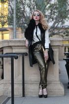 dark khaki BCBG pants - black Zara blouse - black Topshop accessories