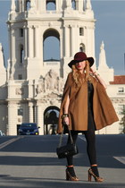 bronze Zara cape - dark brown sam edelman shoes - crimson Urban Outfitters hat