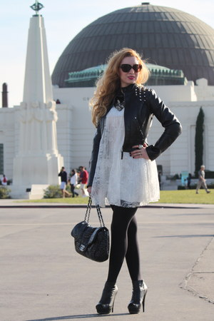 white Topshop dress - black asos jacket - black Chanel bag