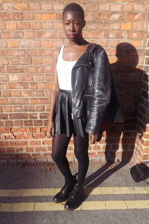 leather biker Ebay jacket - doc martens boots - Sports Direct vest