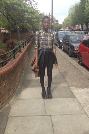 H&M skirt - doc martens boots - Vero Moda shirt