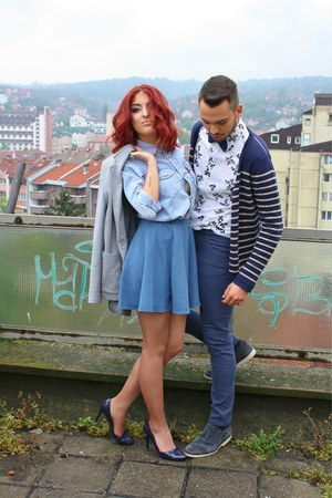 sky blue jeans shirt - sky blue unknown skirt - blue solo heels