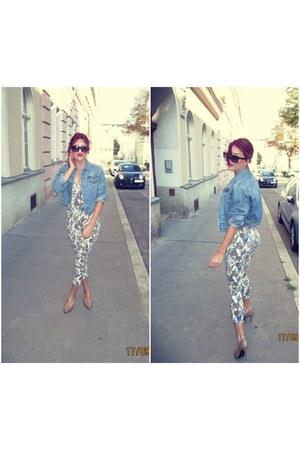 blue H&M jacket - tan solo heels - blue DIY bodysuit