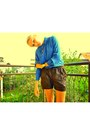 Dark-brown-zara-shorts-blue-sh-blouse