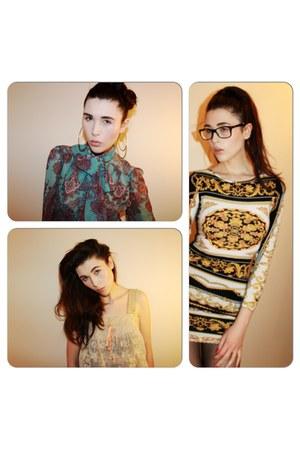 lace crop top Topshop top - bodycon Topshop dress - shirt