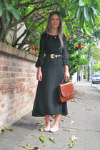 black Frankie sunshine Vintage dress - tawny vintage bag - black vintage belt