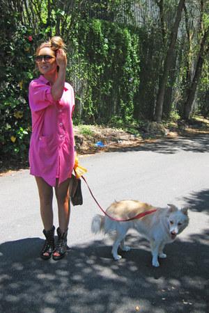 hot pink pink Frankie sunshine Vintage dress - black black Alexander Wang boots