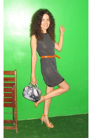 gray Marca dress - gray vintage purse