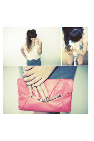 silver H&M scarf - salmon new look bag - light pink cropped unknown top
