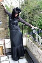 black thrifted vintage skirt - black demonia thrifted heels - black thrifted top