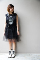 black sheer skirt - white Dr Martens boots - black quilted vest - black t-shirt