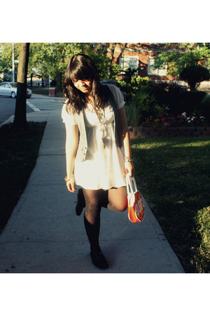 white dress - gray vest - black stockings - red purse - black Vans shoes