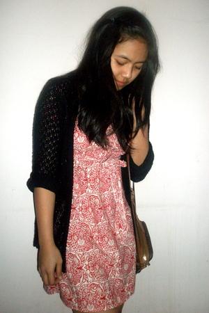 black cardigan - brown purse - red dress