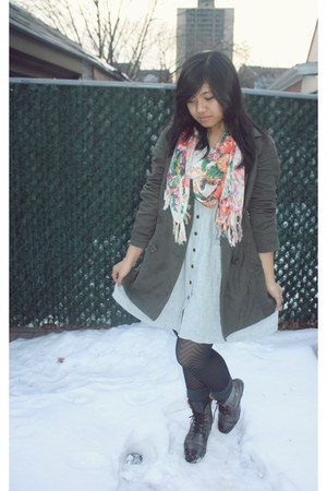 charcoal gray combat boots Spring boots - light blue Urban Outfitters dress - ch