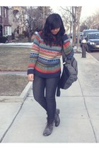 ruby red Urban Outfitters sweater - dark brown Steve Madden boots