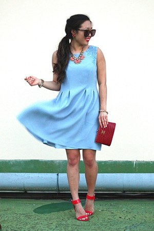 red clutch Chanel bag - sky blue ShopBellaC dress