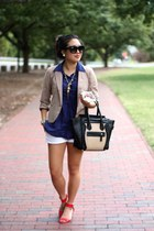 blue Forever 21 shirt - tan Forever 21 blazer - black Shopcalico sunglasses