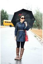 navy vintage jacket - dark brown Forever 21 boots - red vintage bag