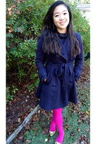 navy trench coat Forever 21 coat - hot pink Forever 21 tights