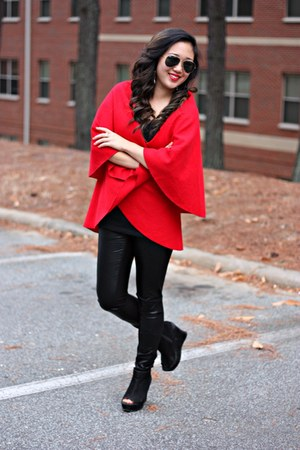 red LoomNation cape - black Forever 21 boots - dark gray Ray Ban sunglasses