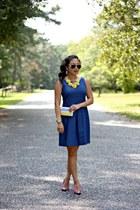 yellow Our World Boutique necklace - blue Ann Taylor Loft dress