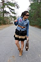black Forever 21 skirt - blue denim Forever 21 jacket