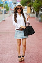 sky blue denim American Eagle skirt - eggshell panama Forever 21 hat