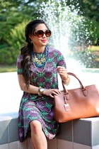 brown Ralph Lauren bag - dark brown asos dress - dark brown Forever 21 heels