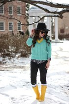 black Forever 21 hat - yellow wellies Hunter boots