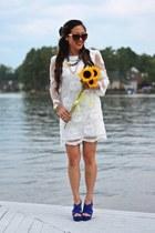 blue Coralie & Co necklace - white Impressions Boutique dress