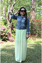 blue denim Forever 21 jacket - lime green chiffon maxi Forever 21 dress