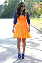 blue Forever 21 shirt - orange Express dress - blue Target heels