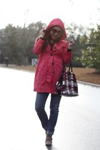 coral rain H&M jacket - red Prada bag - dark brown firmoo sunglasses