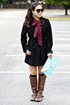 maroon Forever 21 top - brown Forever 21 boots - black Forever 21 coat