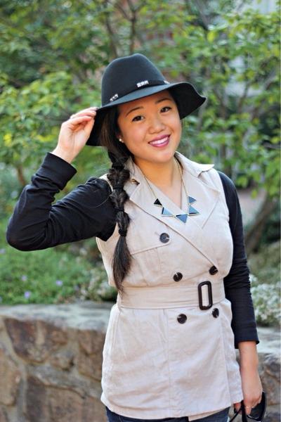 tan Forever 21 vest - black UrbanOG boots - black Forever 21 hat