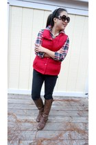 red Forever 21 shirt - dark brown Forever 21 boots - black Ann Taylor Loft jeans