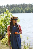 blue Ann Taylor Loft dress - eggshell Urban Outfitters hat