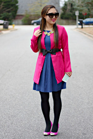 hot pink Everbuying coat - blue ann taylor dress - hot pink Target heels