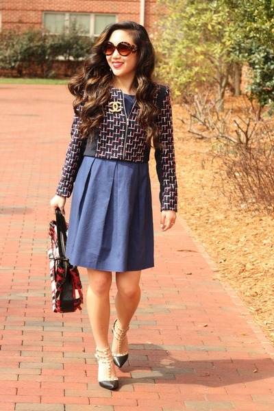 navy H&M blazer - blue Ann Taylor Loft dress - red Prada bag