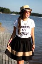 camel Urban Outfitters hat - white DIY shirt - black Forever 21 skirt