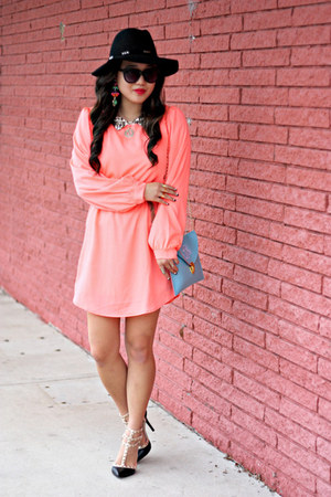 black Forever 21 hat - coral Lulus dress - black Karen Walker sunglasses