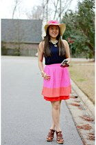 eggshell Forever 21 hat - navy gifted dress - bubble gum JCrew skirt