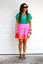 pink JCrew skirt - green Forever 21 top