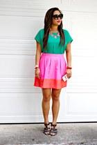 pink JCrew skirt - green Forever 21 top