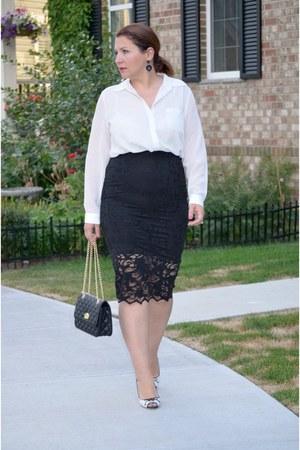 H&M skirt - Jimmy Choo shoes - Simons shirt