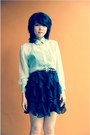 Sheer-shirt-tiered-skirt-crystal-necklace