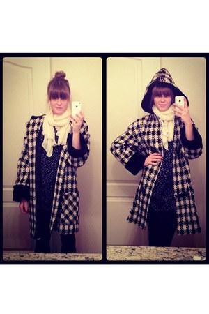 cream thrifted coat - black Victorias Secret leggings - cream scarf