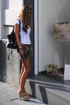 dark brown Zenith scarf - dark brown Louis Vuitton bag - dark green Smog shorts
