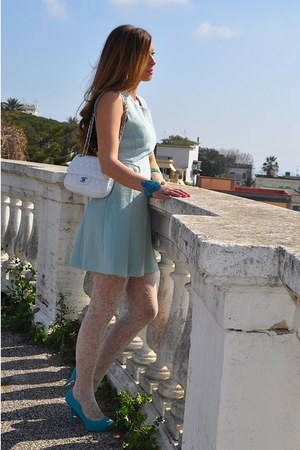 white Oroblu tights - light blue romwe dress - white Chanel bag
