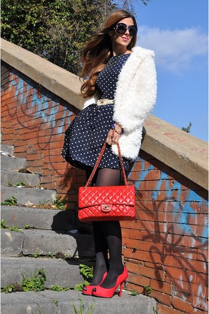 red Chanel bag - navy AX Paris dress - blue Prada sunglasses